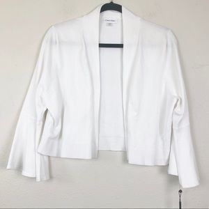 Calvin Klein White Cropped Bell Sleeve Shrug